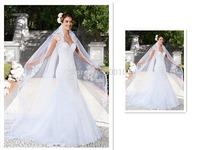 2015 Noiva De Vestidos Elegant Design Sweetheart Appliqued Mermaid Tulle Wedding Dresses with Jacket