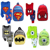 fashion newest designer Kids Batman Pajamas with Batman Backpack for 2-7 years kids clothing sets baby sleepwear 9 colors