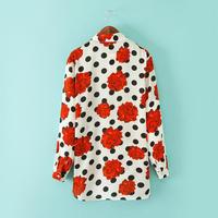 roupas femininas women blouses 2014 Hitz new printed polka dot rose blouse long sleeved lapel shirt causla blusas