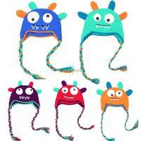 2014 Autumn Winter New Children Kid's baby cute Monster Cartoon wool knit Hat Earflap eartab artistic photo Wholesale BB-AAG