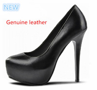 2014 new Classic women's platforms pumps high-heeled Genuine Leather Shallow mouth black bottom bridal dress  party shoes
