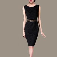 high quality woman vintage lace sleeveless slim pencil dresses C125 black color