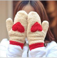 wholesale 12pcs/lot New Fashion Ladies Women Girl Cute Love Heart Warm Gloves Hot Sale Valentine's Day