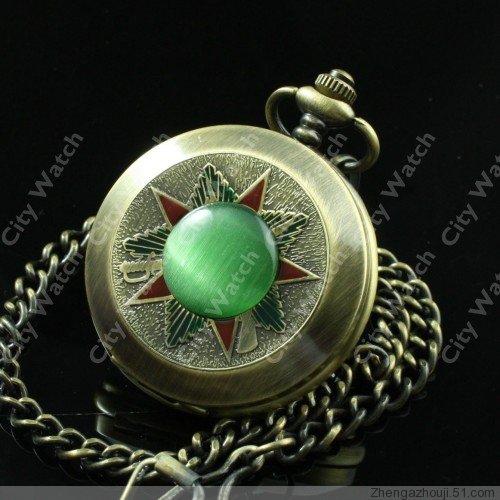 Antique Bronze copper Russia Hakenkreuz green gem Mechanical pocket watch men gift vintage chain wholesale(China (Mainland))