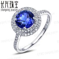 Real 10k White Gold Natural 1.25ctw Blue Tanzanite Full Cut Diamond Engagement Jewelry Ring