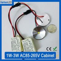 30x AC85-265V 1W 3W warm cold white mini size 38mm LED cabinet light puck lamp kitchen display counter showcase spot lamp