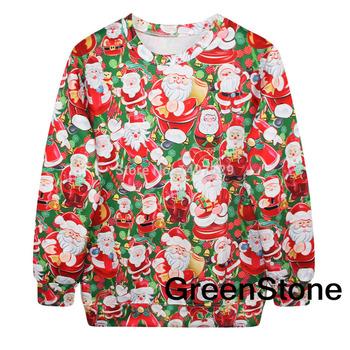 Санта-клауса рождественские сувениры печатных свитер толстовки с длинным рукавом пуловер GSHY4174