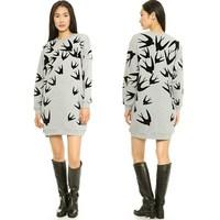 SZ8235 New 2014 Autumn Irregular Pattern Printing Sweatshirt Dress Women Casual Loose Pullover  Sweatshirt Coat