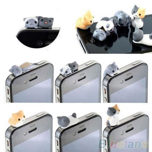6PCS Cheese Cat Anti Dust Earphone Jack Plug Stopper Cap For Iphone Cellphone 1VPQ