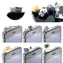6PCS Cheese Cat Anti Dust Earphone Jack Plug Stopper Cap For Iphone Cellphone