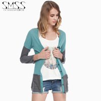 SMSS fashion autumn colorant match letter embroidery pocket single row button cardigan