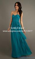 Simple Cheap Pleated Chiffon Long Teal Dress Party Evening Elegant HM638 Brdes maid Dress