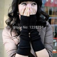 A7 Free shipping Spring Autumn Winter Women Wool Arm Gloves  Knitted Mitten Lengthen Half-finger Gloves H6547 P