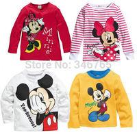 Hot Sales Minnie Mickey Baby Girls Boys Kids Long Sleeve Blouses Tops Shirt clothing