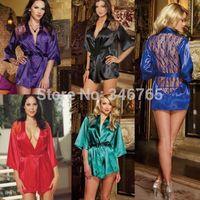 2014 Womens Sexy Satin Lace Silk Lingerie Sleepwear Nightdress Robe + G-string