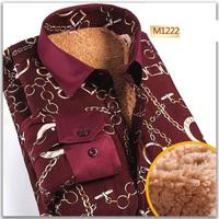2014 Plus Size XL 2XL 3XL 4XL Winter Lamb Wool Men Shirts Thickening Warm Velvet Shirt Fashion Printing Casual Shirts