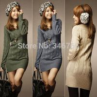 2014 New Brand NEW WOMENS LONG SLEEVE WARM WINTER KNIT SLIM PLUS SIZE TUNIC SWEATER DRESS