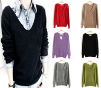2014 Casual Womens Knitted V-Neck Pockets Lady Loose Pullover Sweater Coat Tops
