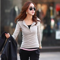 Brand T shirt Fresh Candy Color Hoody Bodycon Cotton Tops Autumn Casual Sport Style Long Sleeved Shirts M-XL Size Pink 3169