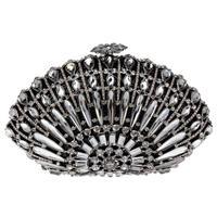 2014 Christmas gift  full rhinestone fashion party bag high quality accessory for women peacock shape