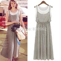 Best selling printing floor-length spaghetti strap dress