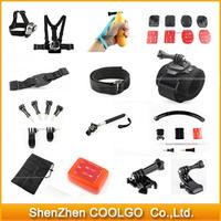 GoPro Accessories Sets Rotation Wrist Strap + Helmet Extention Kits Mount + Chest Belt Mount + Bobber For Gopro Hero1/2/3/3+