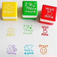 Cute Cartoon Kids Stamp Set Teachers Self Inking Praise Reward Stamps Motivation Sticker School Scrapbooking Stamp DIY 673529