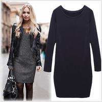 Hot Sale!! Women Winter Dress 2014 New Fashion Pure Color Casual Dress Long Sleeve Autumn Dresses XXL #8464