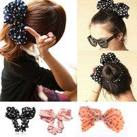 Polka Dot Bowknot Hairband Women Lovely Dot Bow Bowknot Hair Band Hair Clip Elastic Hair Accessories HOT Selling