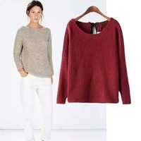 2014 New arrival Ladies' elegant backs lacing Knitted Pullovers knitwear O-neck long sleeve sweaters stylish casual slim Tops