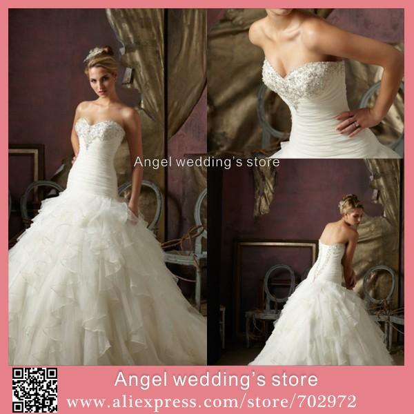 top selling sweetheart sleeveless lace up back longo vestido de novia beaded ball gown wedding dresses 2015(China (Mainland))