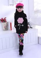 Free Shipping!! 2014 girls kids jeans Woolen girs legging pants flower kids warm elastic waist wholesale and retail WCJ-029