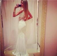 women 2014 summer dress women's fashion sleeveless o-neck desigual casual long dresses soild  color lace dress