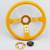MOMO steering wheel modification /350mm imitation racing wheel / nubuck leather steering wheel yellow