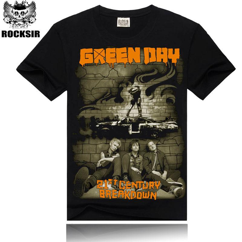 Green Day ! 2014 Men's T-shirt,100% Cotton,Print Round Collar,Men's Fashion T-shirt ,Punk Rock ! Free Shipping 16038(China (Mainland))