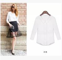 XH7806  New 2014 Autumn Long Sleeve Casual Blouse  Shirt Women Lapel Camisa