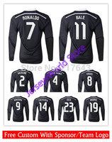 14/15 Real Madrid UCL 3rd Long Sleeve Jerseys 11 Bale 7 Ronaldo Benzema Isco Ramos Modric Di Maria LS Black Soccer Shirt