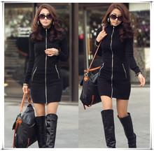 Il trasporto libero 2015 donne plus size xxxl one piece nero sottili zipper up manica lunga aderente mini vestito di alta qualità  (China (Mainland))