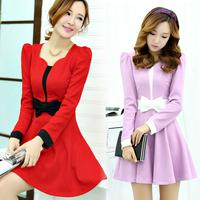 2014 autumn gentlewomen one-piece dress color block slim medium-long bow dress