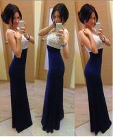 Hot new women's clothing 2014 summer new women's fashion round neck sleeveless chiffon dress blue stitching sexy party dress