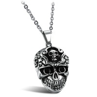 2014 New HOT SALE Men's Stainless steel necklaces & pendants Skull Classic Design Punk Rock Accessory for men / boys, GX835