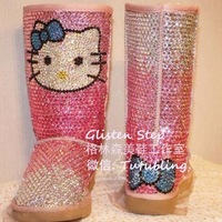 2015 ms hot cute pink gradient drilling leather sheepskin  boots free shipping