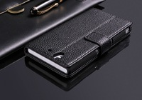 Luxury Litchi Book Style Wallet Leather Case Cover Pouch Stand For Sony Xperia Z L36h Flip Case