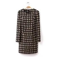 2014 New arrival Ladies' Vintage Geometric print plaid Dress O-neck Half sleeve casual slim dress evening party dress