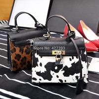 2014 new fashion  cow grain horsehair bag platinum package portable shoulder bag  brand leather handbag  women