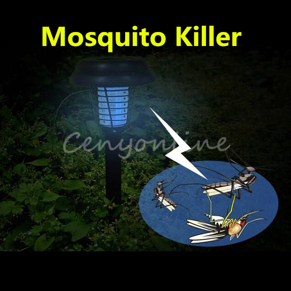 NEW White UV LED Solar Powered Outdoor Yard Garden Lawn Anti Mosquito Insect Pest Bug Zapper Killer Trapping Lantern Lamp Light(China (Mainland))