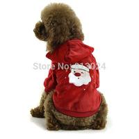 FashionLovely Pet Dogs Soft Warm Coat Pajamas Santa Print Puppy Hooded Clothes FreeShipping