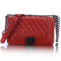 women famouse band cc bag chain plaid double c bag lady socialite messenger shoulder bag 100% genuine leahther