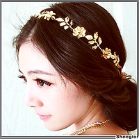 2014 Fashion Gold Elastic Romantic Olive Branch Leaves Head Bands Hair Accessories women Head chains Hair jewelry