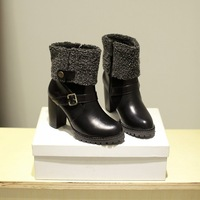 2014 new arrive fashion round toe high-heeled martin boots side zipper boots for women  soft leather boots plus big size